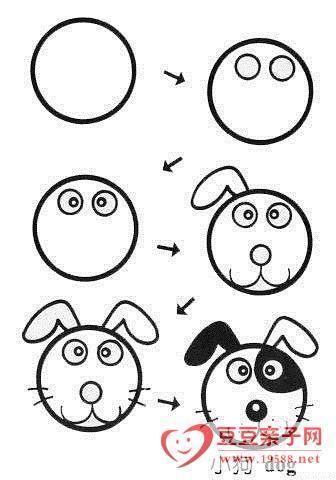 另类的两只小狗在一起简笔画